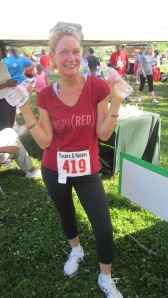 After the run, red-faced and sweaty, but feeling good - Water, YES!